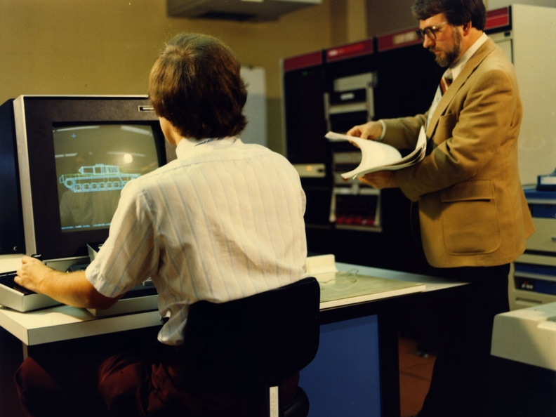 Mike Muuss working with BRL-CAD on a PDP-11/70