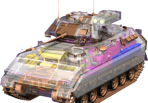 Translucent Bradley fighting vehicle