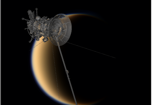 Cassini glass probe over Titan