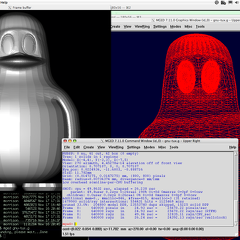 Non-textured ray-trace and wireframe screenshot of imported GNU-TUX model